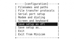 minicom: save setup as dfl